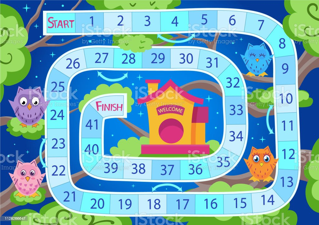 Kids Board Game With Cute Owls Worksheets For Book Children