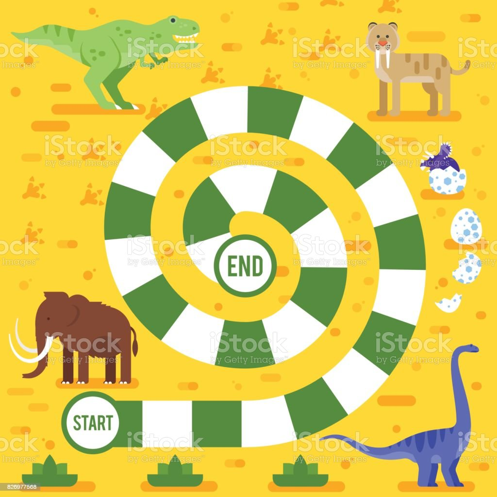 kids board game with dinosaurs template. vector art illustration