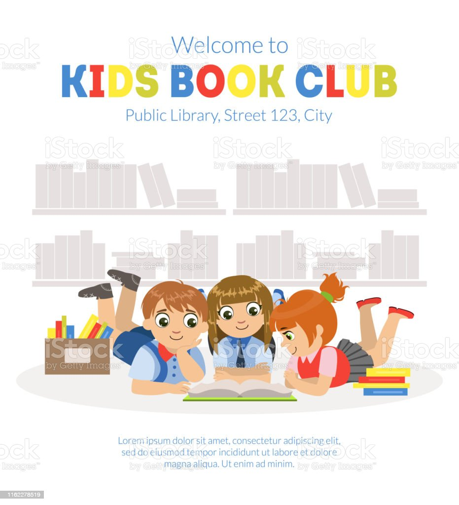 Kids Book Club Banner Template with Place for Text, Cute Little Boys...