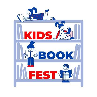 Kids book fest on the bookshelf illustration