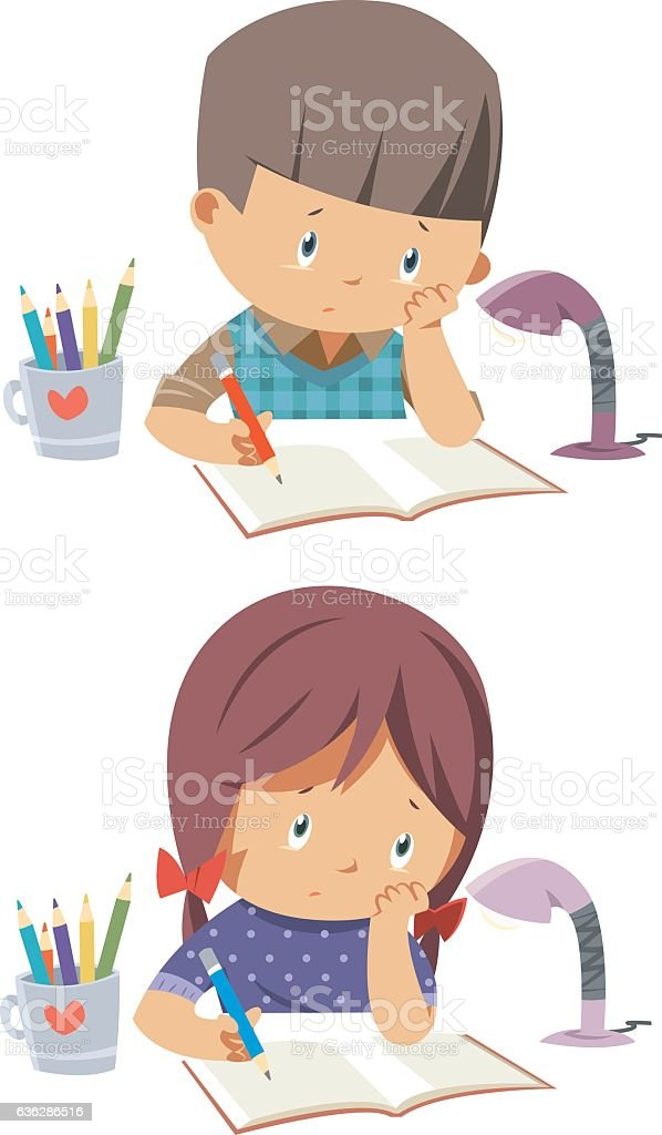 kids bored homework vector art illustration