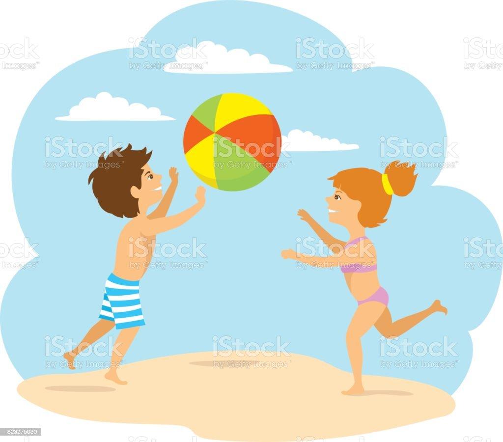 子供、男の子と女の子がビーチでボールをプレー ベクターアートイラスト