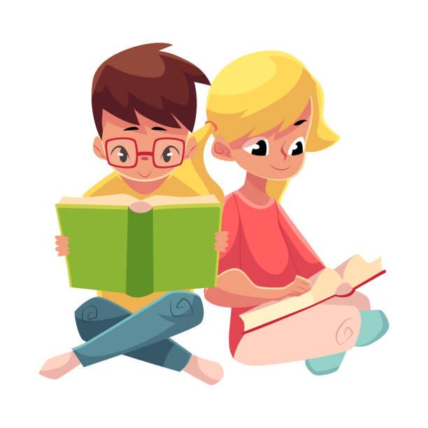 ilustrações, clipart, desenhos animados e ícones de crianças, rapaz em menina de óculos, loiro com rabos de cavalo, ler livros - irmã