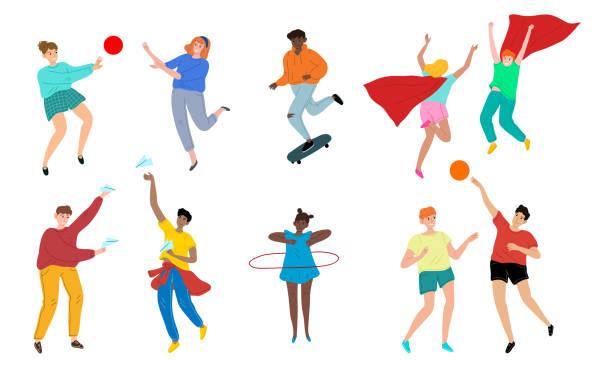 bildbanksillustrationer, clip art samt tecknat material och ikoner med barn pojkar och flickor vänner spelar spel utomhus och känner glad vektor illustration - street dance