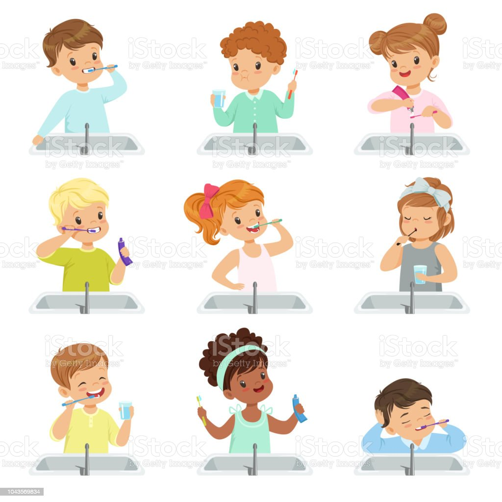 Kids brushing teeth set, cute boys and girls caring for their teeth in bathroom vector Illustration on a white background vector art illustration