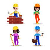 Kids builders characters vector illustration