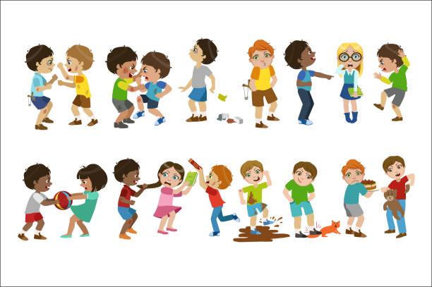 ilustrações de stock, clip art, desenhos animados e ícones de kids bullies childish cartoon style cute vector illustration on white background - puxar cabelos