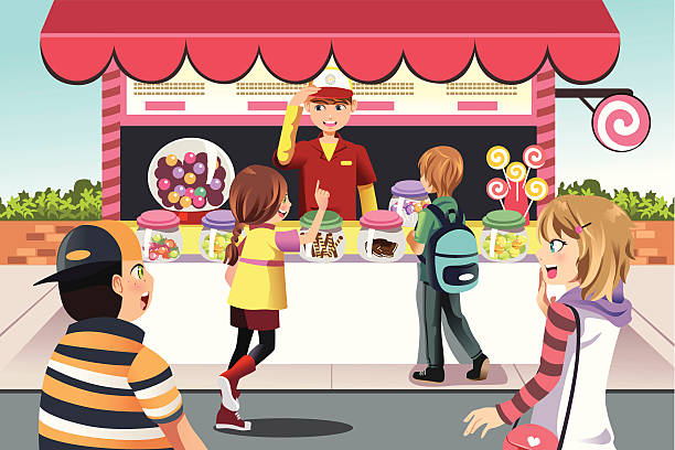 Kids buying candy A vector illustration of kids buying candy at a candy shop candy clipart stock illustrations