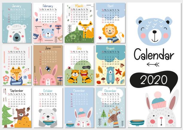 ilustraciones, imágenes clip art, dibujos animados e iconos de stock de calendario para niños 2020 - calendario de animales