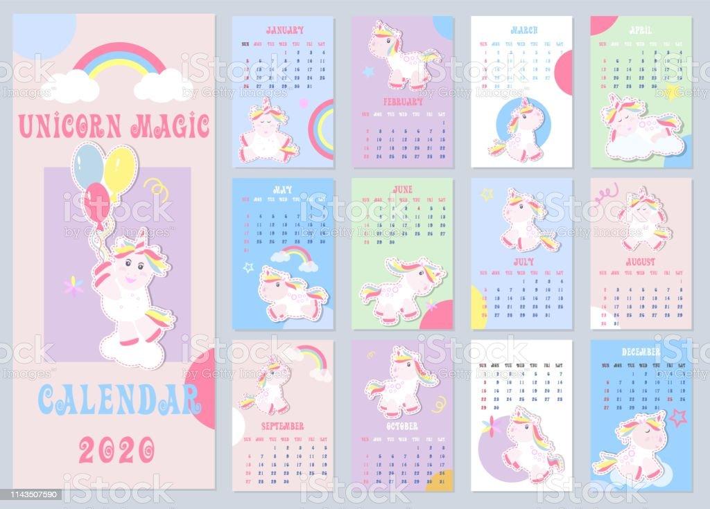 Calendario 2020 Planner.Kids Calendar 2020 With Little Unicorns Weekly Planner