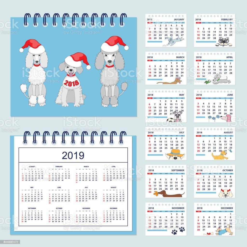 Ilustración de Calendario Infantil Para Pared O Escritorio Año 2018 ...