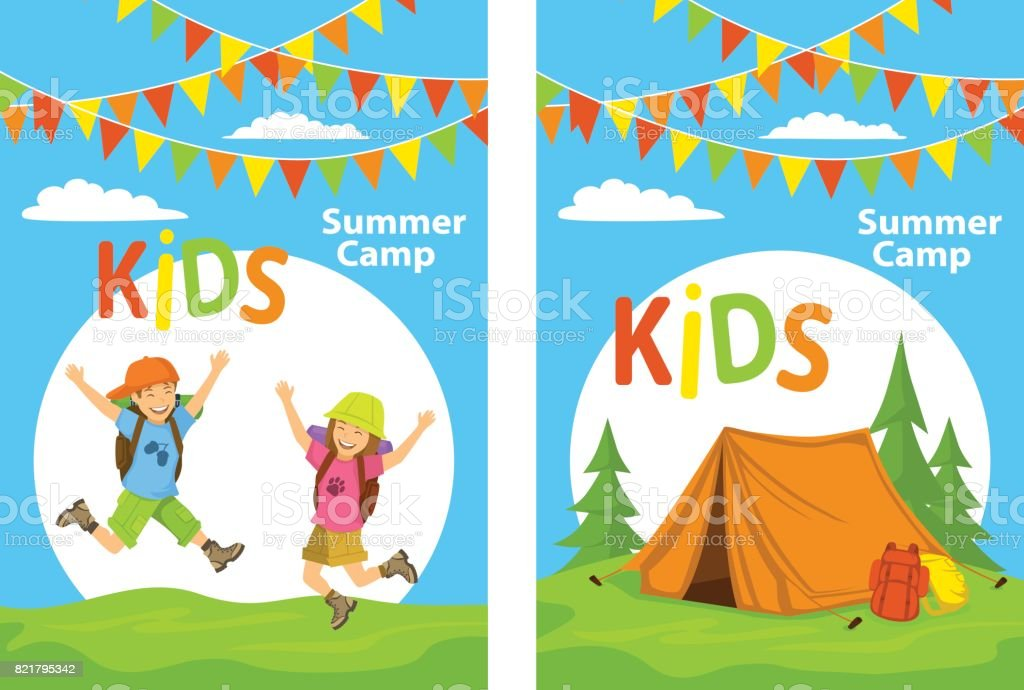 kids camp poster templates with children jumping for joy and campsite with tent forest and - Templates For Children