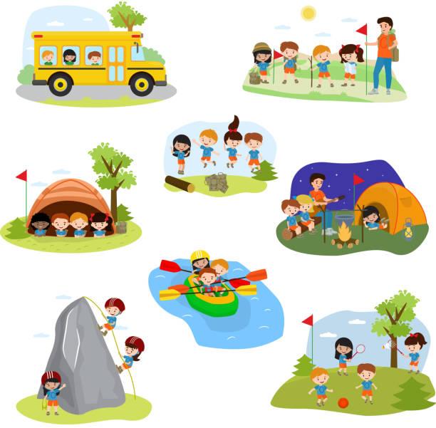 ilustrações, clipart, desenhos animados e ícones de crianças campo vetorial crianças campista personagens e atividade do acampamento em conjunto de ilustração de férias de verão de criança brincando na tenda perto de acampamento em acampamento, isolado no fundo branco - exteriores de escola