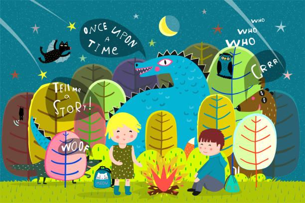 kinder camping waldbrand mit drachen - geistergeschichten stock-grafiken, -clipart, -cartoons und -symbole