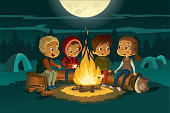 Kids camping in the forest at night near big fire. Children sitting in a circle, tell scary stories and roast marshmallows. Tents in the background. Adventure and exploration concept. Vector