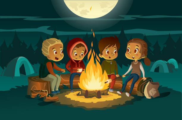 Kids camping in the forest at night near big fire. Children sitting in a circle, tell scary stories and roast marshmallows. Tents in the background. Adventure and exploration concept. Vector vector art illustration