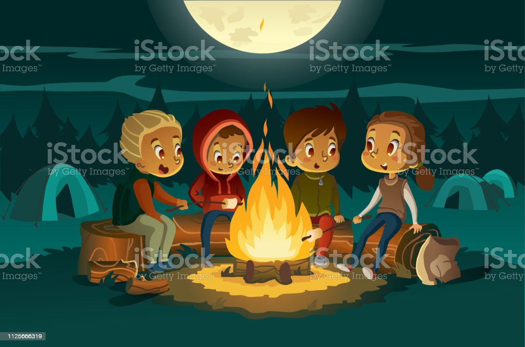 Kids Camping In The Forest At Night Near Big Fire Children Sitting