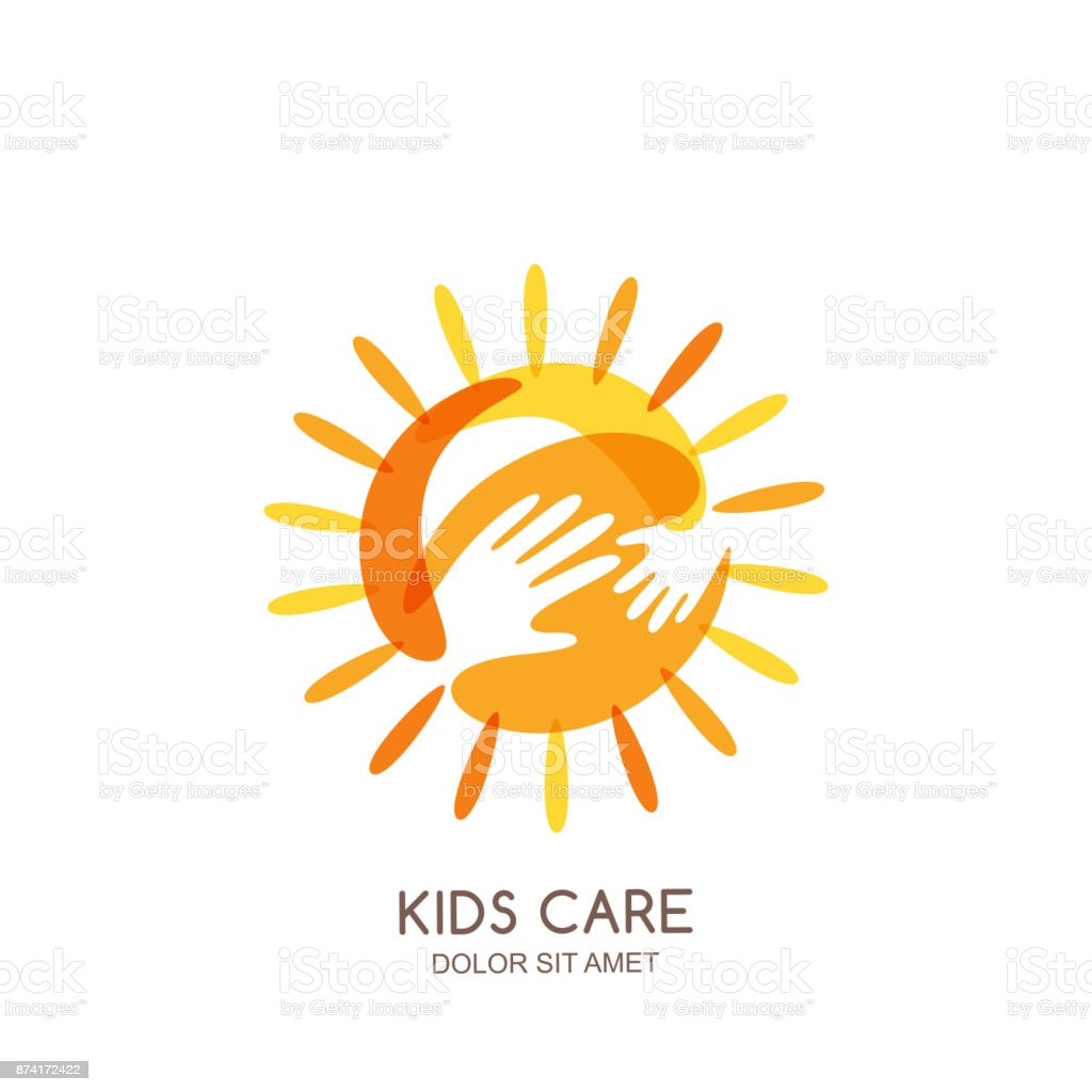 Kids care, family or charity vector emblem design template. Hand drawn sun with baby and adult hands silhouettes. vector art illustration