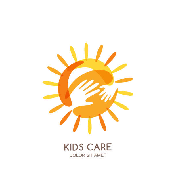 Kids care, family or charity vector emblem design template. Hand drawn sun with baby and adult hands silhouettes. Kids care, family or charity vector logo design template. Hand drawn sun with baby and adult hands silhouettes, isolated icon. Voluntary non profit organization or healthcare concept. a helping hand stock illustrations