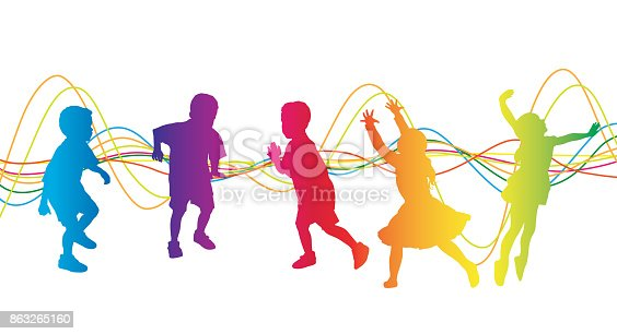 Young kids ages 4-5 playing and being energetic