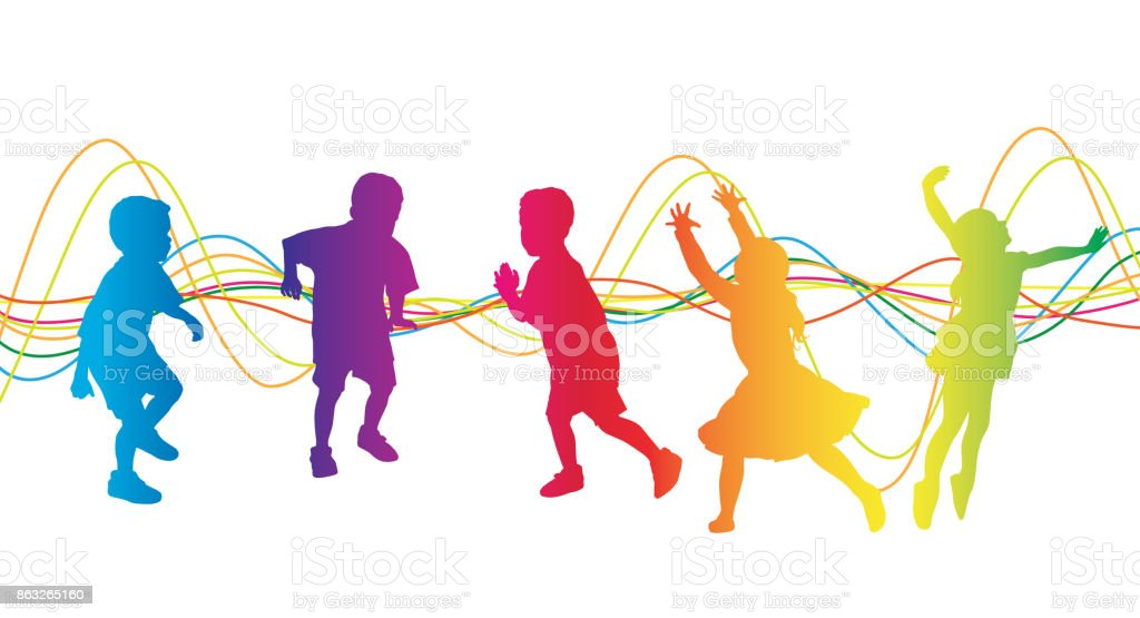 Kids Carefree Playtime vector art illustration