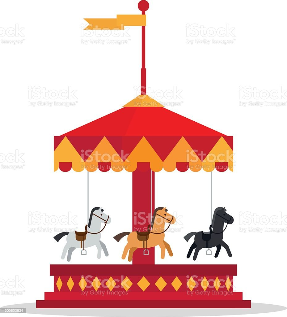 Kids Carnival Carousel In Flat Style Stock Illustration ...