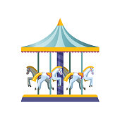 Kids carousels, swings, in form an attraction with riding horses