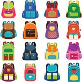Kids schoolbag set isolated on white background. Children colored cartoon backpacks for school study vector illustration
