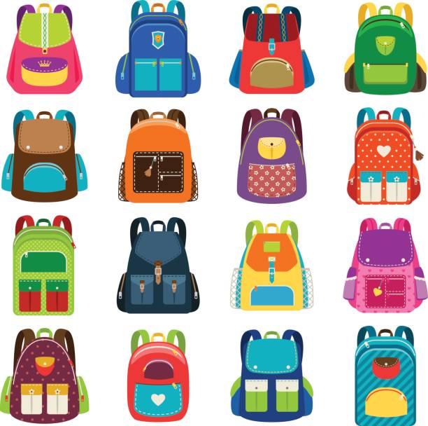 Bекторная иллюстрация Kids cartoon schoolbag set