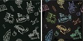 Seamless pattern of kids chalk drawings on a dark background.
