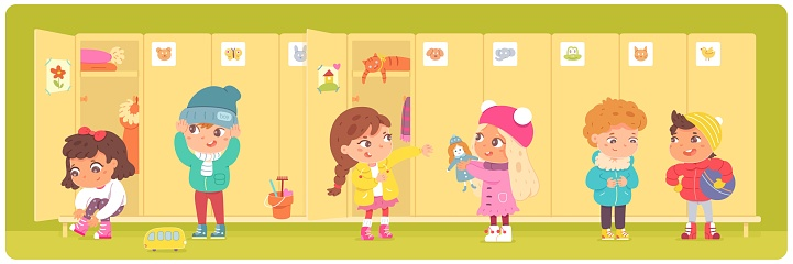 Kids changing clothes at lockers in kindergarten. Little boys and girls putting on clothes in winter vector illustration. Lockers with doors in row. Preschool children together