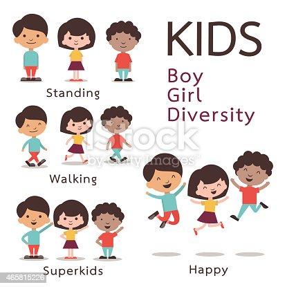 Cute character set of kids, boy, girl, diversity. Flat design.