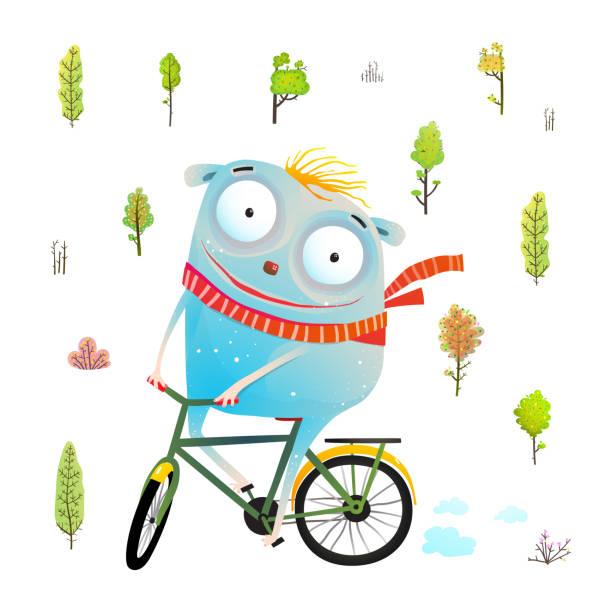 kinder-charakter mit radfahren im wald - lustige fahrrad stock-grafiken, -clipart, -cartoons und -symbole