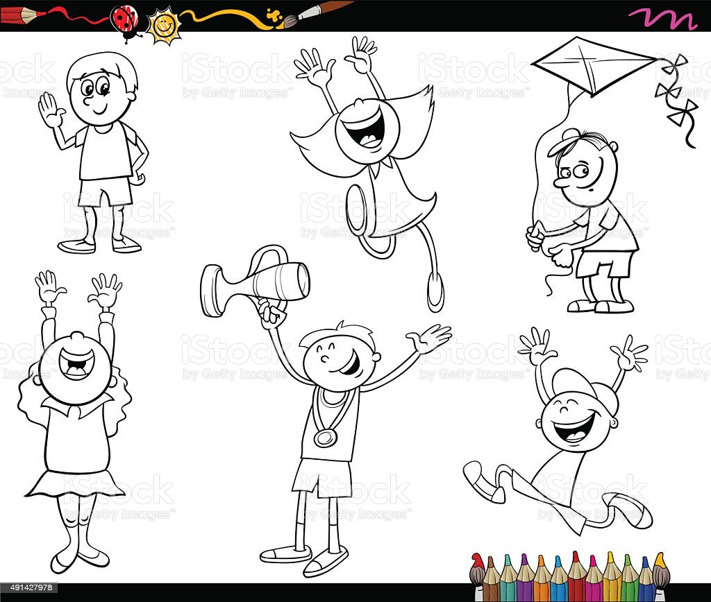 Vetores De Personagens Para Criancas Paginas De Colorir E Mais