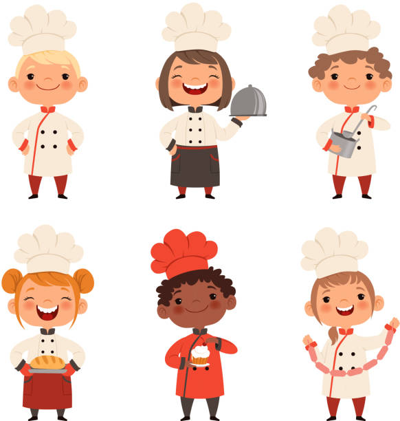 Kids characters prepare food Kids characters prepare food. Character child chef profession, waiter and baker, confectioner illustration cooking drawings stock illustrations