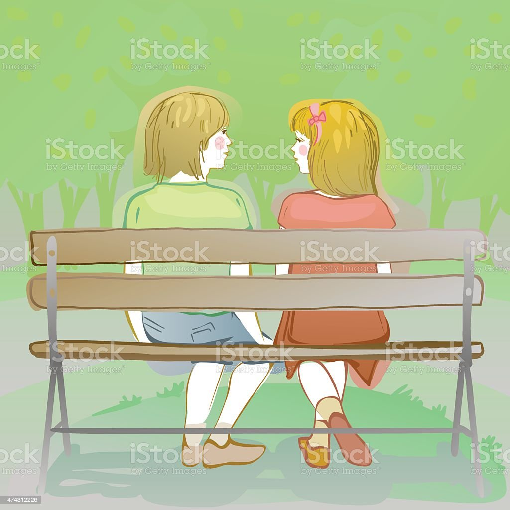 kids chatting on a park bench vector art illustration