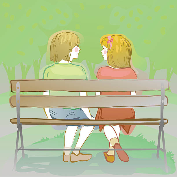 kids chatting on a park bench vector art illustration