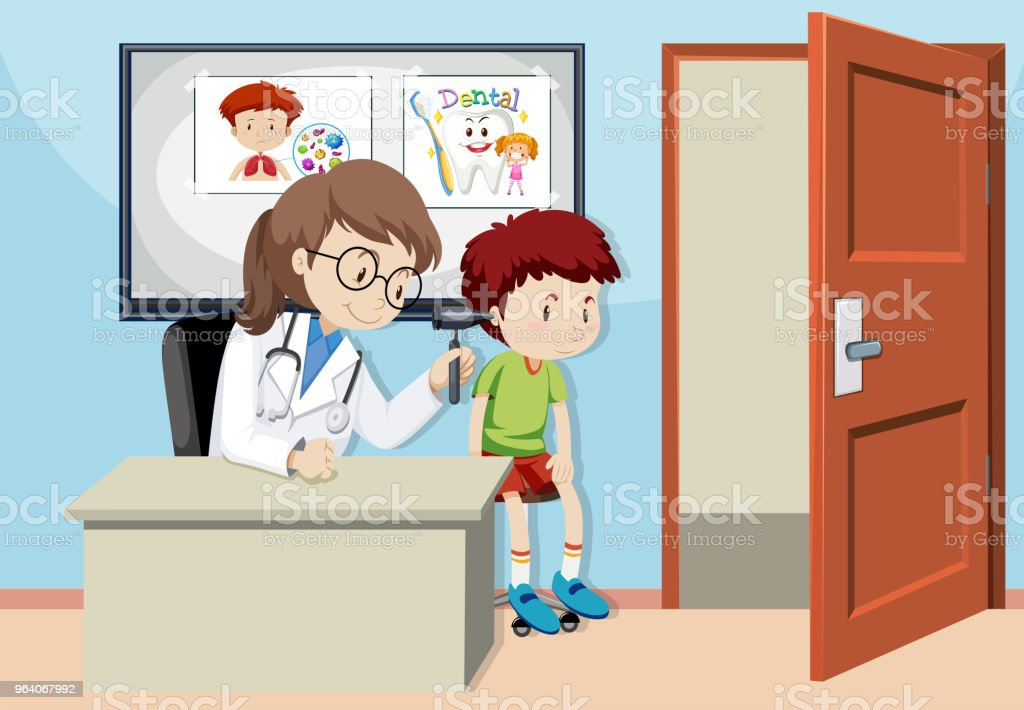 A Kids Checking Ear With Doctor - Royalty-free Animal stock vector