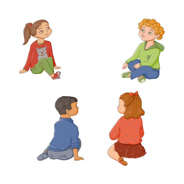 Kinder, Kinder, jungen und Mädchen sitzen auf Boden – Vektorgrafik