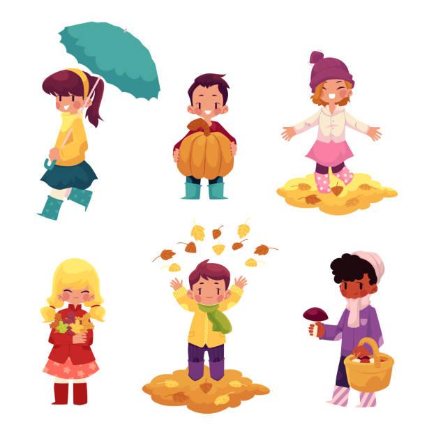 kids, children having fun in fall, autumn season - kids playing in rain stock illustrations, clip art, cartoons, & icons