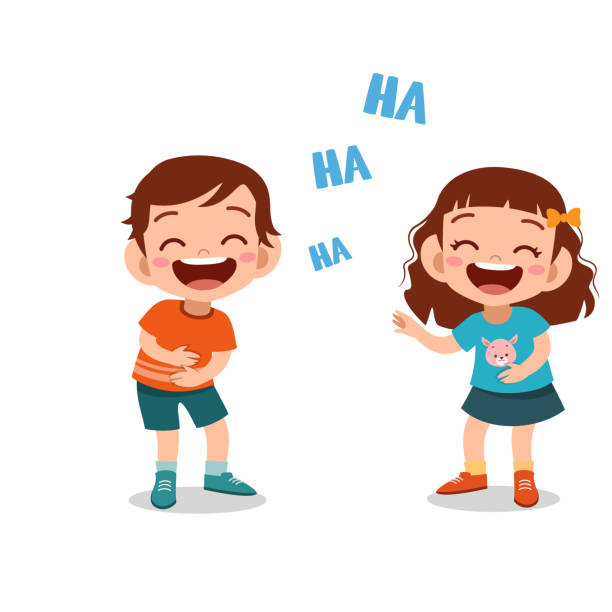 kids children laughing together vector - radość stock illustrations
