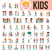 Kids Children Set Vector. Funny Family Members Spending Time Together At Home, Outdoor. Lifestyle Situations. School, Kindergarten. Cartoon Illustration