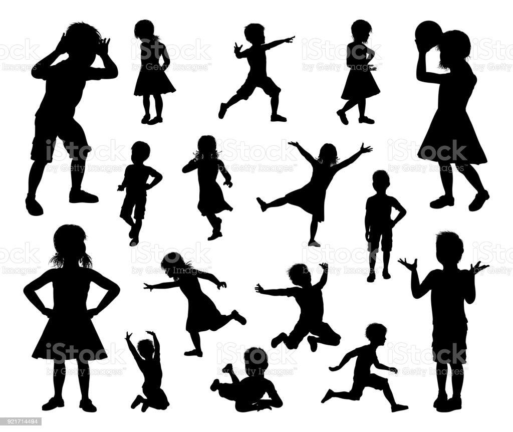 子供の子供のシルエットのセット ベクターアートイラスト