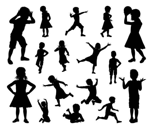 아이 어린이 세트 실루엣 - 자녀 실루엣 stock illustrations