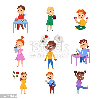 istock Kids Choosing Between Healthy and Unhealthy Food Set, Boys and Girls Do Not Like Vegetables and Enjoying of Eating Sweet Desserts Cartoon Style Vector Illustration 1277486212
