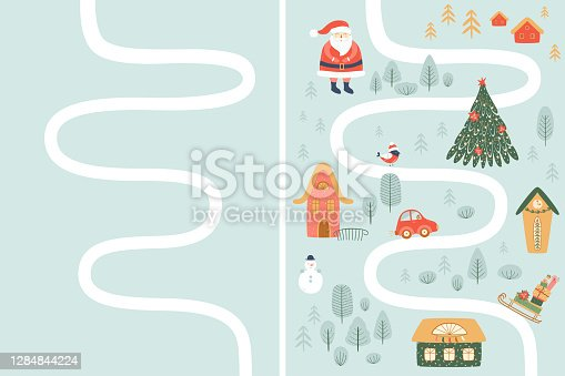 istock Kids Christmas map creator. Winter adventure map, forest, Santa, houses, snowman. Christmas travel. Vector kids map. 1284844224