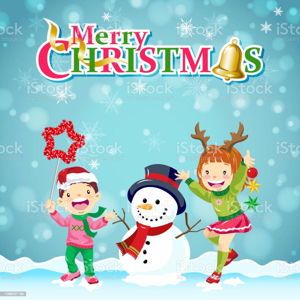 Kinderweihnachtsschneemannparty Stock Vektor Art und mehr Bilder von ...