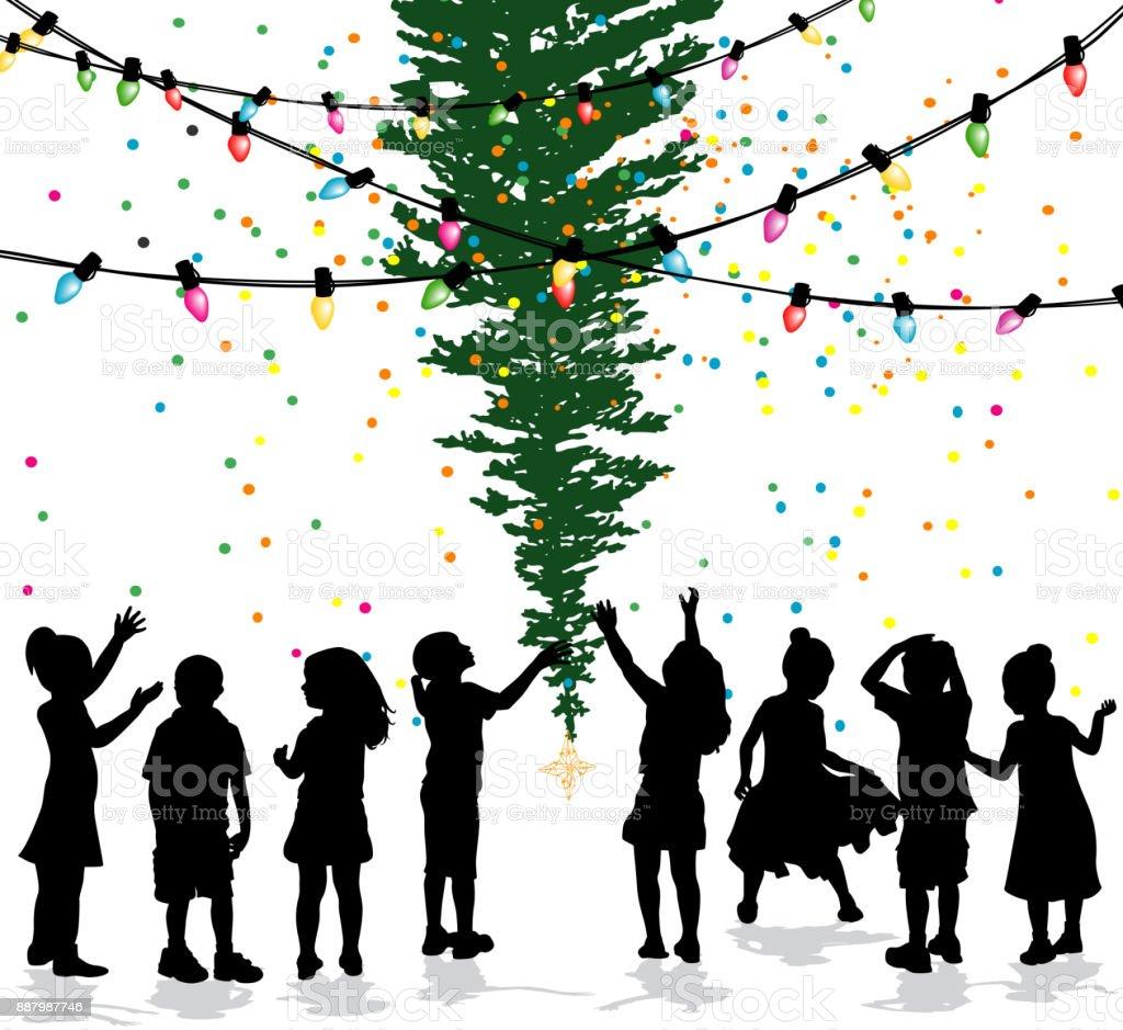 Kinder feiern Weihnachtsbaum – Vektorgrafik