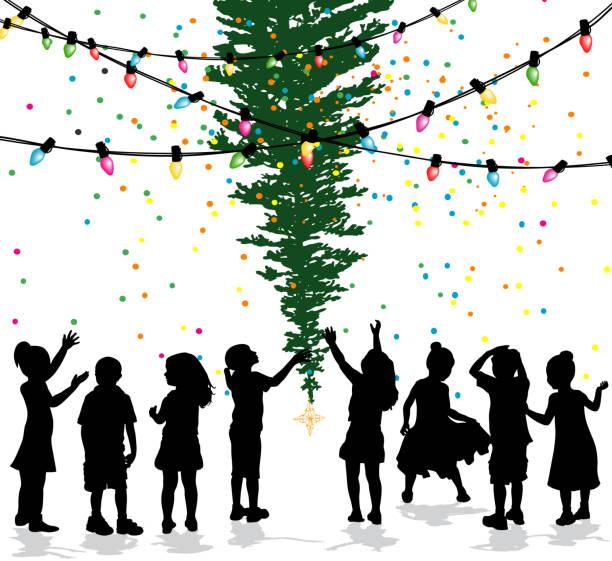 kinder feiern weihnachtsbaum - wunschkinder stock-grafiken, -clipart, -cartoons und -symbole