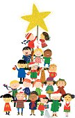 Full of details illustration of several cultures children forming a christmas tree. Adorable!  Check for more of these in my Seasonal lightbox! These kiddies are everywhere! There is another xmas tree version with more kiddies. Want to see another christmas tree made out of kiddies? Click here; http://www.istockphoto.com/file_closeup.php?id=13772612 Want to see another christmas tree made out of animals?  click here https://secure.istockphoto.com/file_closeup_edit.php?id=79839507